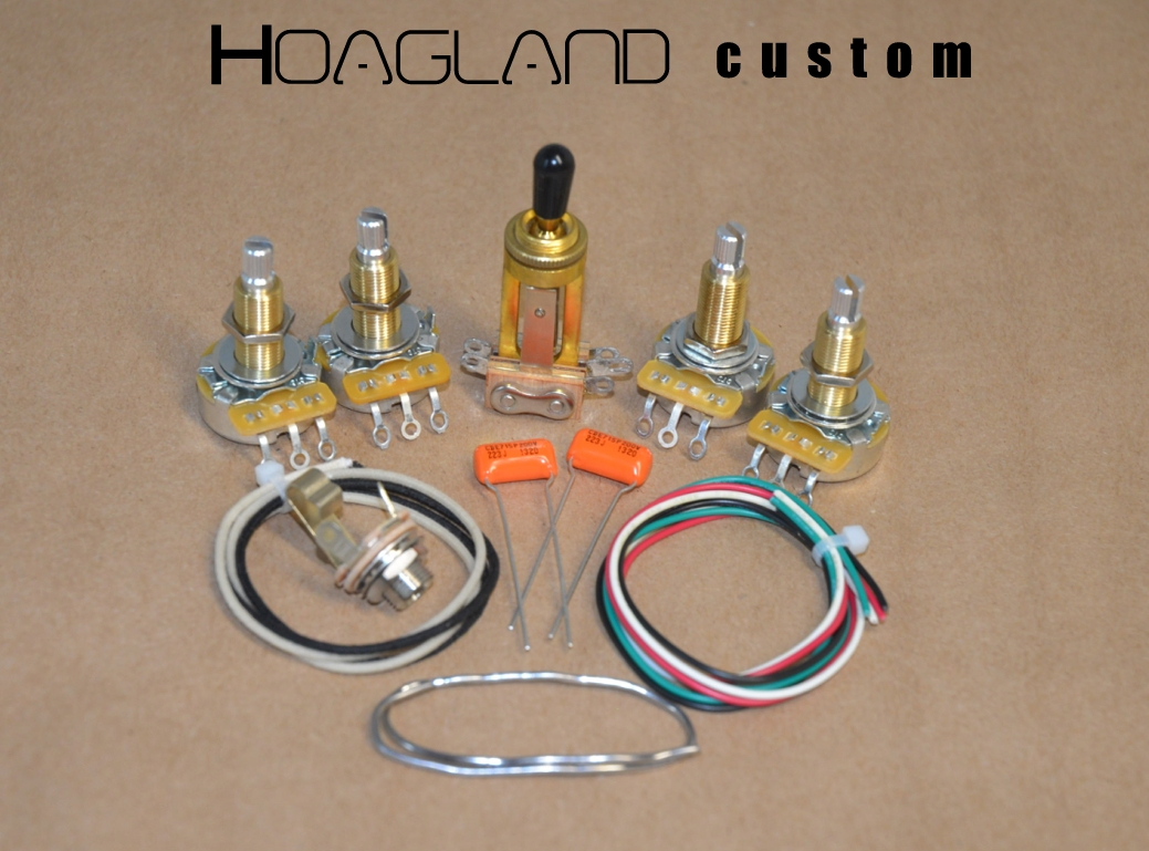 Les Paul/SG Style Wiring Harness Kit – long-shaft pots – Hoagland Custom