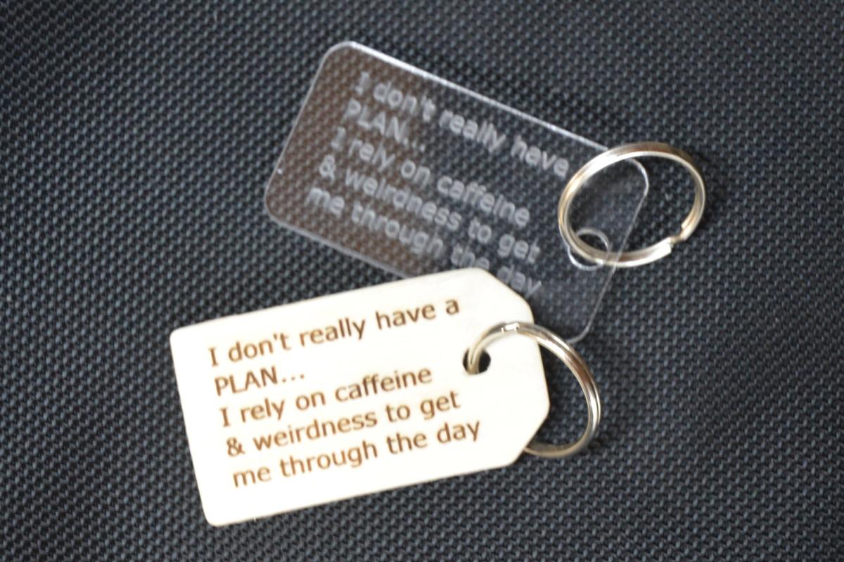 Laser-Engraved Keychain, wood or acrylic -