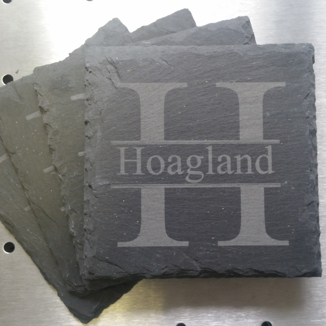 Personalized Last Name & First Initial of Last Name Laser-Engraved Slate  Coasters